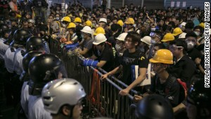 Police and protesters standoff against each other as tensions continue in in Hong Kong on Monday, October 20.