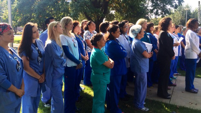 DALLAS, TX: Nurses from Texas Health Presbyterian Hospital gather in front of the hospital to defend their hospital and their work. The hospital has drawn criticism for its handling of Ebola victim Thomas Eric Duncan and the two nurses who contracted the virus from Duncan. Photo by CNN's Jason Morris, October 20. Follow Jason (@jmocnn) and other CNNers along on Instagram at instagram.com/cnn.