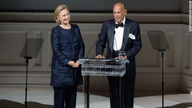 De la Renta's designs were loved among political figures, too. Hillary Clinton joined de la Renta onstage at the CFDA Fashion Awards last year in New York.