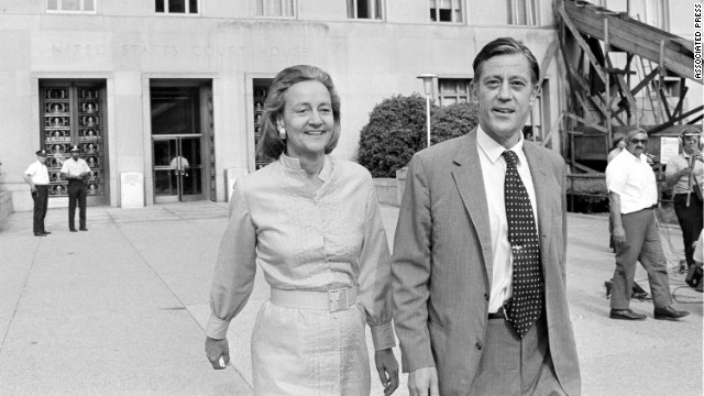 Katharine Graham, publisher of The Washington Post, and Bradlee leave U.S. District Court in Washington on June 21, 1971. The newspaper got the go-ahead to print the Pentagon Papers series on the Vietnam War. Later, the U.S. Court of Appeals extended for one more day a ban against publishing the secret documents.