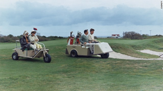 In September 1963 -- some two months before he was assassinated -- President John F. Kennedy played golf with Bradlee at Newport Country Club in Rhode Island. Accompanying them are first lady Jacqueline Kennedy and Antoinette Bradlee, his second wife.<!-- --> </br>