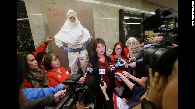 RoseAnn DeMoro, executive director of the California Nurses Association and National Nurses United, talks to reporters in Sacramento, California, after meeting with Gov. Jerry Brown on October 21 to discuss the Ebola crisis.