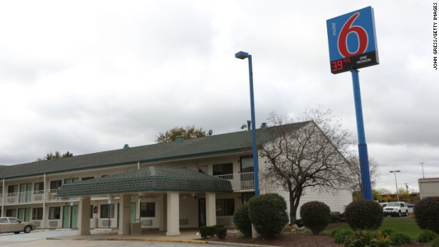Police said Vann led them to this Motel 6 in Hammond, Indiana, where Afrikka Hardy was found strangled to death.