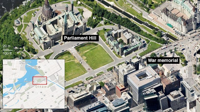 Map: Shooting near Parliament