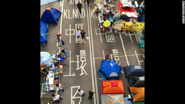HONG KONG: A slice of Occupy Hong Kong at the main protest site near government headquarters, from above. Photo by CNN's Jethro Mullen, October 22. Follow Jethro (<a href='http://instagram.com/jethromullen' target='_blank'>@jethromullen</a>) and other CNNers along on Instagram at <a href='http://instagram.com/cnn' target='_blank'>instagram.com/cnn</a>.