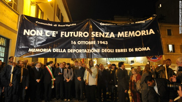 In October 2013, a memorial was held in Rome for the 1,000 Jews who were taken away from the Rome Ghetto to concentration camps 70 years earlier.