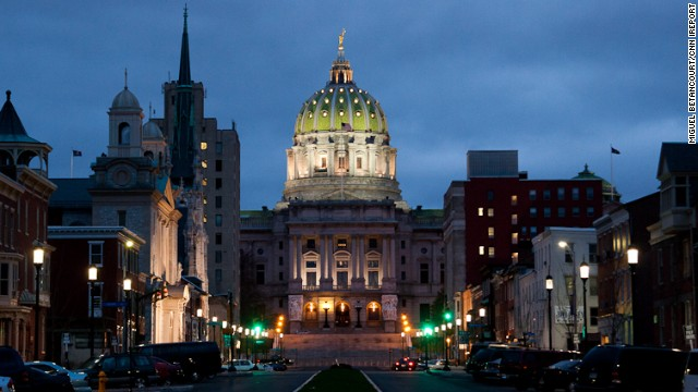 Harrisburg, Pennsylvania might not be the first place that comes to mind when you think of tourist destinations, but it does boast the state's beautiful capitol building, seen here at night.