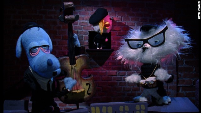 The beatnik puppet band (left to right): Dirty Dog, Chicky Baby and Cool Cat.