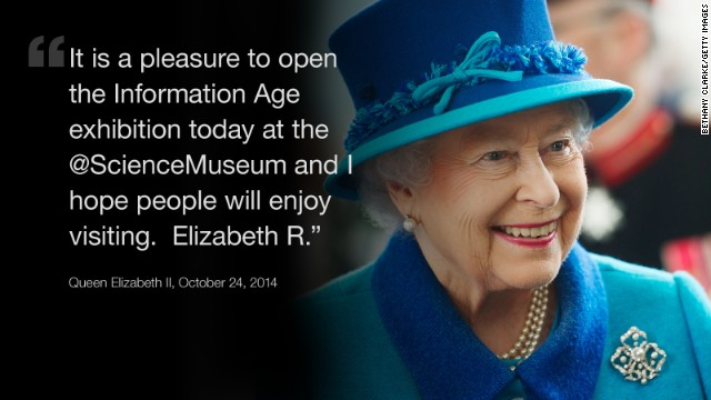 Britain's Queen Elizabeth II has joined Twitter, and she started with a message about London's Science Museum. Here's a look at some other notable first tweets.