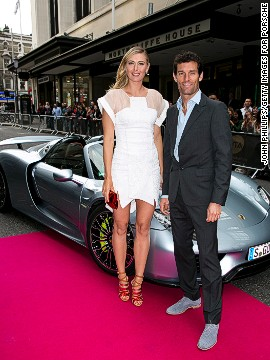 The car was used to ferry tennis champion Maria Sharapova, seen here with Formula One driver Mark Webber, to the pre-Wimbledon party this year.