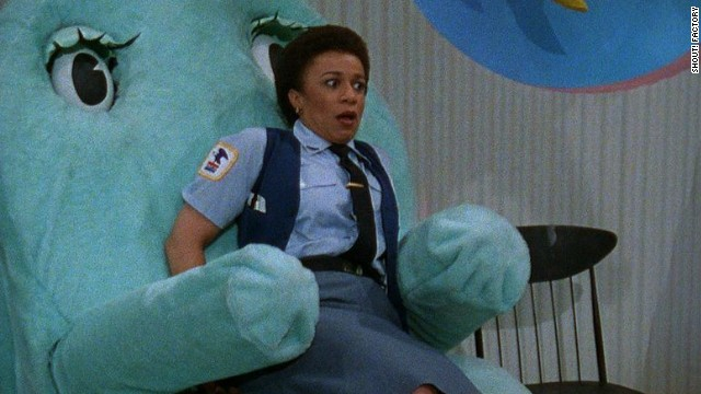 "Chairy envelopes Reba the mail lady (S. Epatha Merkerson of ""Law and Order"" fame) in an embrace."
