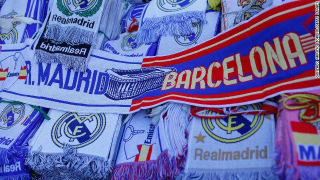 A sea of El Clasico scarves on sale outside the Bernabeu Stadium before Saturday's match.