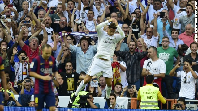 Cristiano Ronaldo celebrates scoring Real Madrid's equalizer in front of an ecstatic home crowd. His 35th minute penalty brought an end to Barcelona keeper Claudio Bravo's record of eight clean sheets in the opening eight matches of the La Liga season.