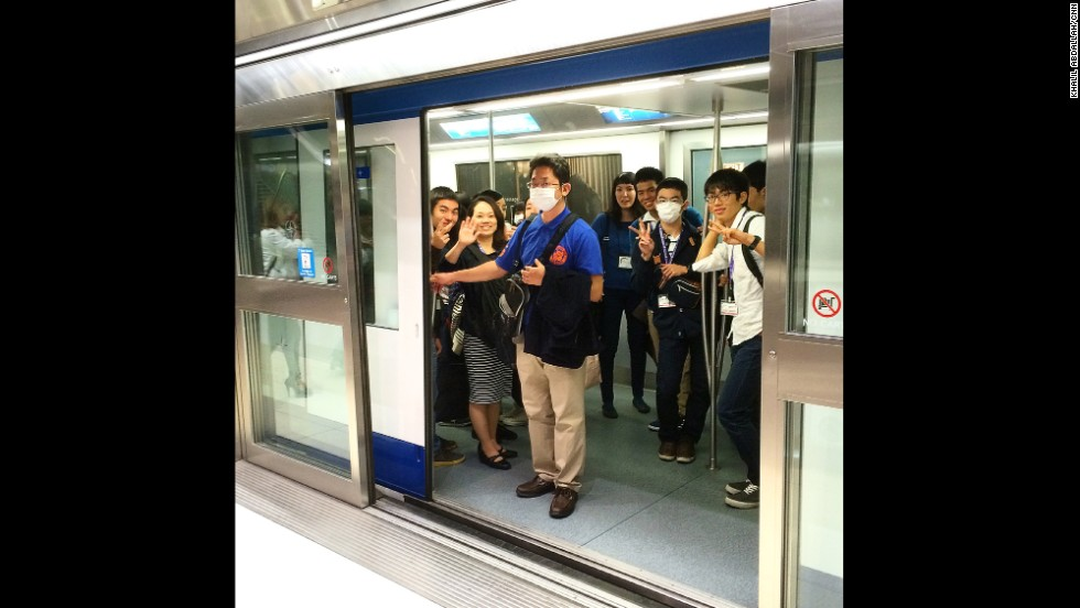 """WASHINGTON: """"Safety first. Riding the Air Train at Dulles International Airport. With fears of Ebola and other viruses, passengers heading to Tokyo today happy, but masked as they start the trip home to Japan."""" - CNN's Khalil Abdallah, October 25. Follow Khalil (<a href='http://instagram.com/madcameraman' target='_blank'>@madcameraman</a>) and other CNNers along on Instagram at <a href='http://instagram.com/cnn' target='_blank'>instagram.com/cnn</a>."""