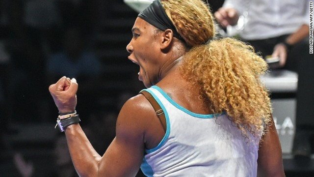 A pumpled up Serena Williams beats Simona Halep to win the WTA Finals title in Singapore.