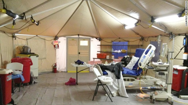 Hickox sent CNN this image of the tent where she was initially being isolated for Ebola monitoring Sunday, October 26, in New Jersey. Hospital officials told CNN the indoor tent was in a climate-controlled extended-care facility adjacent to a hospital.
