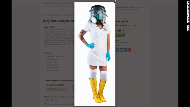 "The only thing sexier than anorexia? Ebola. This ""Sexy Ebola Containment Suit"" was available at brandsonsale.com."