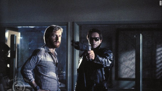 "James Cameron, seen here with Schwarzenegger, co-wrote and directed ""The Terminator."""
