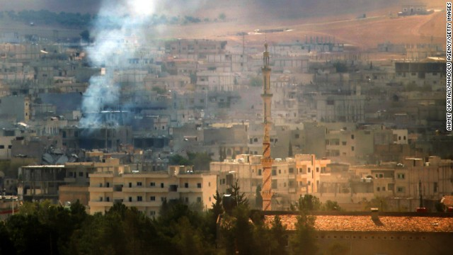 Smoke rises during fighting in the Syrian city of Kobani on Monday, October 27. At least 800 people have been killed there in the last 40 days as ISIS militants and Syrian Kurdish fighters battle for control of the city, according to the Syrian Observatory for Human Rights.