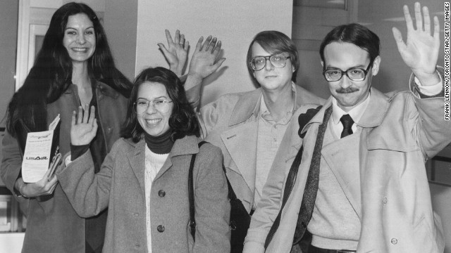 Six American Embassy employees avoided capture by hiding in the homes of Canadian Embassy officers. Aided by the Canadian government and the CIA, they fled Iran on January 28, 1980. From left, Kathleen Stafford, Cora Lijek, Mark Lijek and Joseph Stafford are seen here during a visit to Toronto in February 1980.