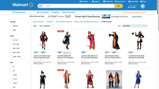"""Not sure labeling these as 'Fat Girl Costumes' is the best approach."" Twitter user Kristyn Washburn tweeted at Walmart on October 21, after discovering how the plus-size Halloween costumes for women were labeled. The retail giant apologized six days later, after media outlets like Jezebel reported on the classification. It's currently investigating how the labeling occurred. ""This never should have been on our site. It is unacceptable and we apologize,"" said Ravi Jariwala, a spokesperson for Walmart. ""We worked quickly to remove it this morning and are taking additional steps to ensure this never happens again."""