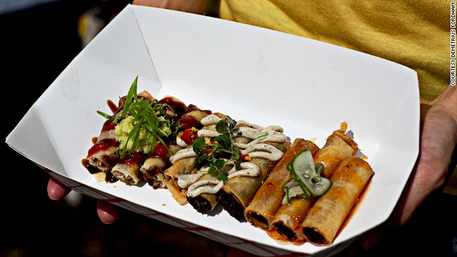 At <a href='http://www.lumpia-shack.com' target='_blank'>Lumpia Shack</a>, lines form as early as 11 a.m. each Saturday. Each roll is made with ground pork, roasted duck or truffled adobo mushrooms, hand-rolled, then deep-fried.