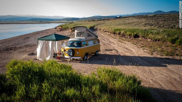 "It may look like we've gone back in time to the '70s, but that's<a href='http://ireport.cnn.com/docs/DOC-1079160'> Jeremy Nix's </a>VW bus -- called ""The Pig"" -- in Williams Fork Reservoir, Colorado, a few summers ago. ""The reservoir is extremely low due to drought conditions, which gives the whole area that desolate landscape look. It was like we had the entire place to ourselves,"" he said."