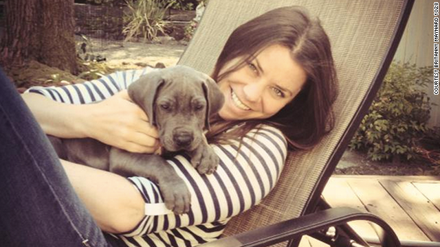 Brittany Maynard with her dog Charley in San Francisco. Maynard, a 29-year-old with terminal brain cancer, has died, advocacy group Compassion and Choices said in a Facebook post on Sunday. Click through to see more photos of Maynard's life.