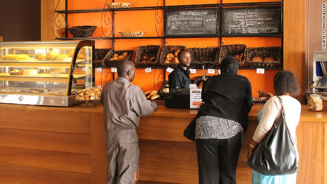 """Au Bon Pain,"" which means ""where the bread is good,"" opened its doors in Goma, DRC, in May 2014. Owner Vanessa Jados, who employs approximately 10 people, says the bakery is the first in town to provide fresh bread and croissants."