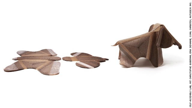 Wooden elephant produces itself from the raw materials.