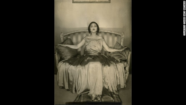 This is a 1923 example of Steichen's work, showing his earlier Art Nouveau style. The actress Jetta Goudal is pictured wearing a satin gown by Lanvin for Vogue magazine, November 1, 1923.
