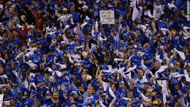 Fans wave towels before Game 7 of baseball's World Series between the Kansas City Royals and the San Francisco Giants on October 29 in Kansas City, Missouri.