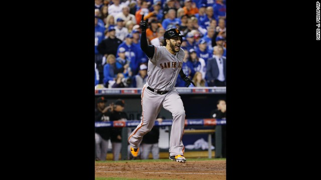 San Francisco Giants' Michael Morse reacts after hitting an RBI single during the fourth inning of Game 7 of baseball's World Series against the Kansas City Royals on October 29 in Kansas City, Missouri.