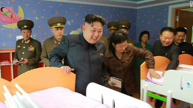 Kim visits the Pyongyang Baby Home and Orphanage in an image released by state media on Monday, October 27.