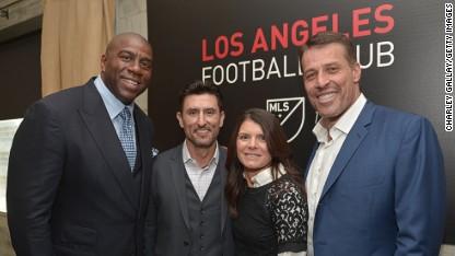 Los Angeles Football Club co-owners Magic Johnson, Nomar Garciaparra, Mia Hamm and Tony Robbins