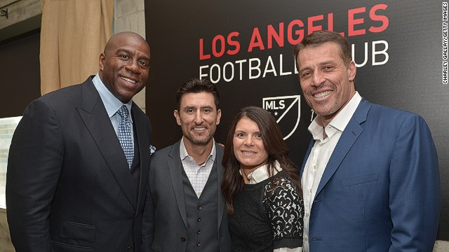 Los Angeles Football Club co-owners Magic Johnson, Nomar Garciaparra, Mia Hamm and Tony Robbins at the club's launch.