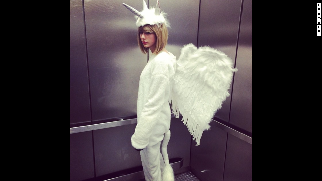 "Check out what Hollywood's stars are donning this Halloween. Taylor Swift wrote on her <a href='http://instagram.com/p/u0NiOLjvCC/?modal=true' target='_blank'>Instagram</a>, ""Cause, darling I'm a nightmare dressed like a PEGACORN."""