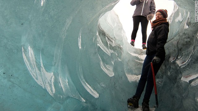 Melting ice can create holes, known as moulins, that plunge down through the glacier. Some are big enough to climb through.