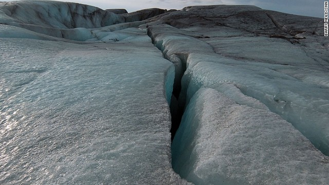 Crevasses opened up by friction as the ice moves down the mountain can penetrate to the bottom of the glacier -- at this point up to 50 meters deep. Further up, the glacier can be up to a kilometer deep.