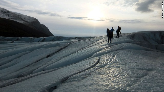 The glacier is constantly shifting shape as it pushes down the mountain and melts and freezes under warm daylight and freezing nights.