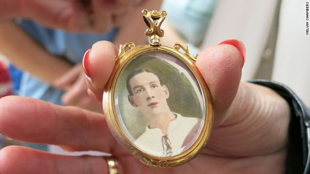 This locket belonged to Jonas, a Clapton Orient player who died at the Somme. Jonas was admired by a number of female fans and had to ask them to stop sending love letters.