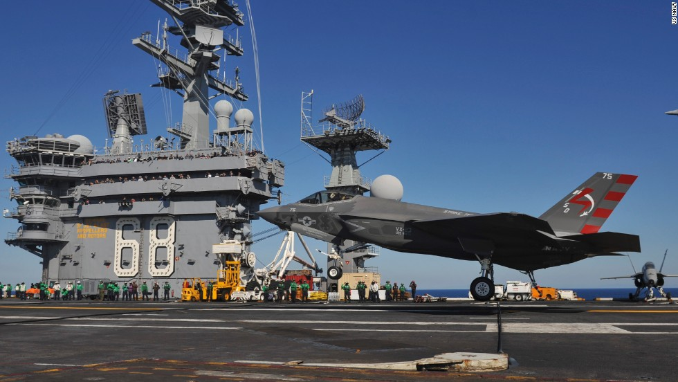 An F-35C Lightning II carrier variant Joint Strike Fighter conducts its first arrested landing aboard the aircraft carrier USS Nimitz on Monday off the coast of California.