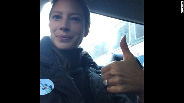 "Model Christy Turlington <a href='http://instagram.com/p/u-x1OVoTgz/?modal=true' target='_blank'>posted this selfie to Instagram</a>, saying, ""I voted, did you NYC?"""