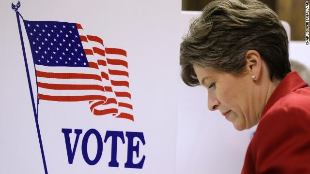 Ernst, a state senator in Iowa, casts her ballot November 4 in Red Oak, Iowa.