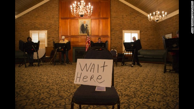 Voters cast their ballots at the Jamestown Town Hall in Jamestown, North Carolina.