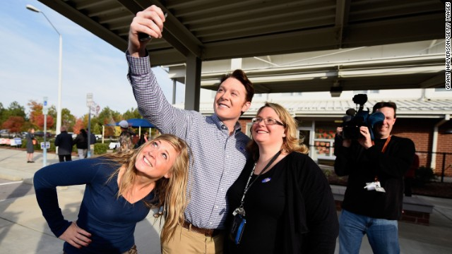 "Clay Aiken, the former ""American Idol"" star running for Congress, joins supporters for a selfie after voting in Cary, North Carolina. Aiken was not able to unseat incumbent Renee Ellmers."