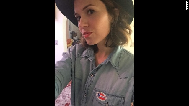 """""""You can't complain if you don't participate,"""" <a href='https://twitter.com/TheMandyMoore/status/529685747524071425/photo/1' target='_blank'>tweeted actress Mandy Moore.</a> """"Get out there and rock the #vote today, folks!! #ivoted."""""""