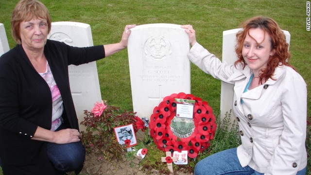 Pat and Pamela Smith visit the grave of their ancestor -- Orient's George Scott. Scott was taken prisoner on August 16 1916 by the Germans and was never seen again.