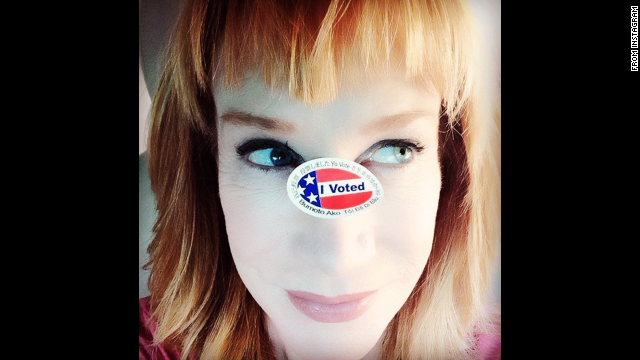 "Comedian Kathy Griffin <a href='http://instagram.com/p/u_y3LRNDFH/?modal=true' target='_blank'>put her own spin</a> on the ""I voted"" selfie."