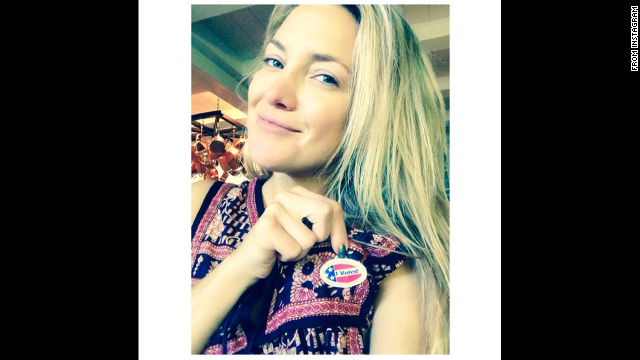 """""""Dotted and delivered!"""" said actress Kate Hudson, who also used the hashtag #EveryVoteCounts <a href='http://instagram.com/p/u_sEL9Jco3/?modal=true' target='_blank'>on her Instagram post.</a>"""